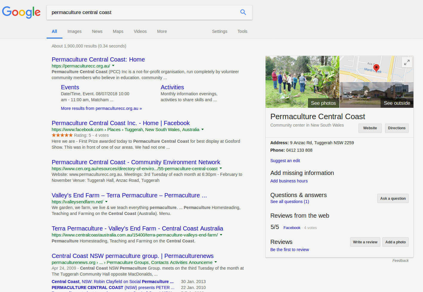 Screenshot of Google Search Results Page