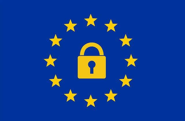 European flag with padlock