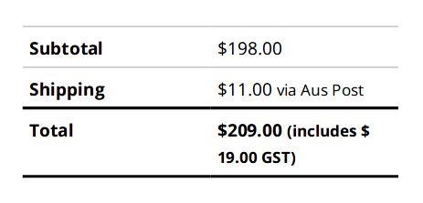 WooCommerce invoice total with GST