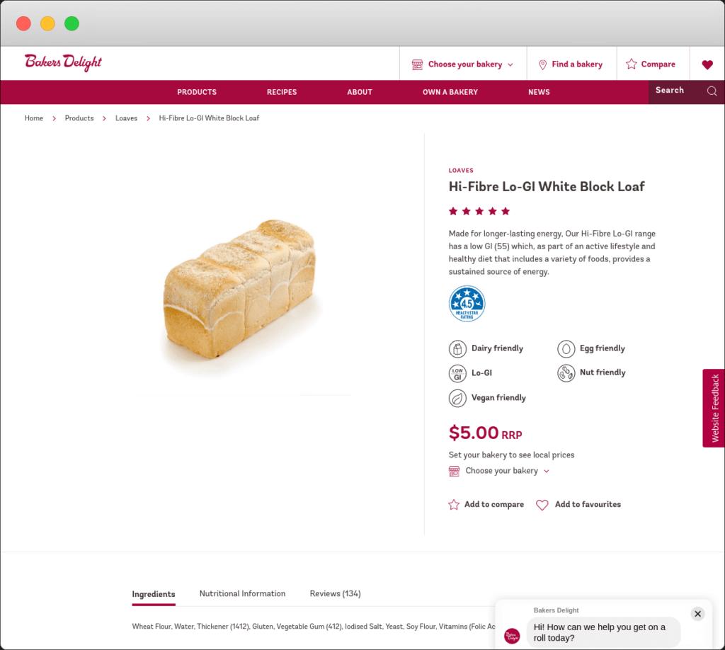 Screenshot of Bakers Delight website