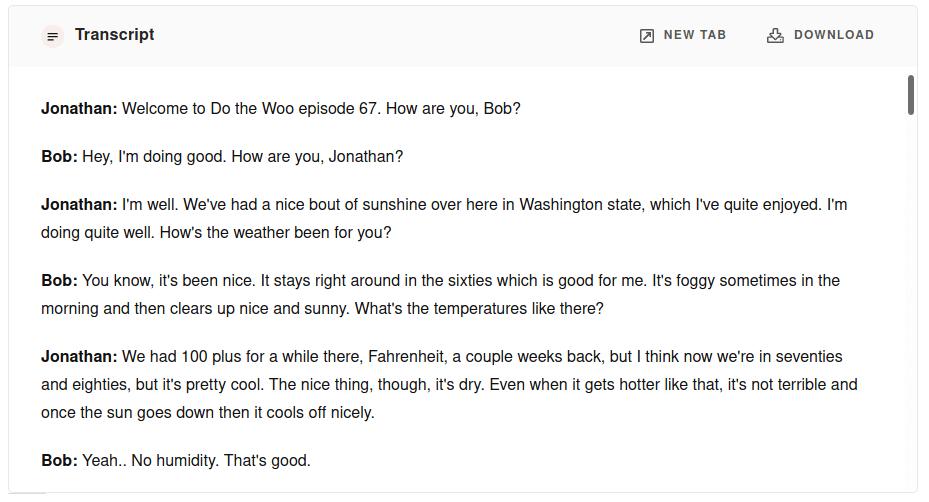Screenshot of podcast transcript